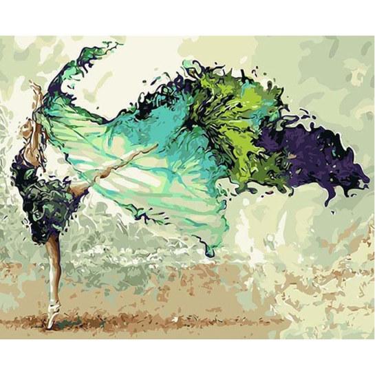 Blauwe Ballerina Schilderen Op Nummers
