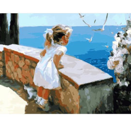 Meisje Aan Zee Schilderen Op Nummers